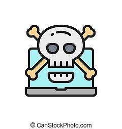 線, icon., ウイルス, 色, crossbones, シンボル, コンピュータ, cybercrime, 頭骨