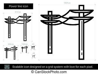 線, icon., 力量