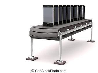 線, smartphone, アセンプリ
