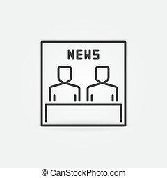 線, tv, スタイル, ∥あるいは∥, ベクトル, 概念, ニュース, アイコン, 薄くなりなさい, 印