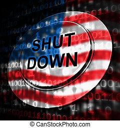締められる, 休暇, アメリカ, 手段, ボタン, 政府, 政治的である, 下方に, シャットダウン, 国民