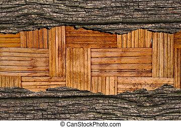 編まれる, 竹, 木, 古い, 手ざわり