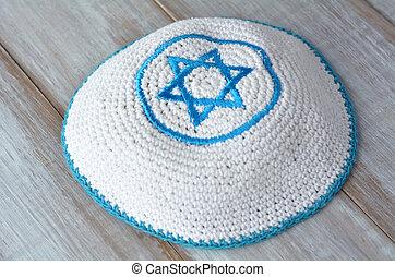 編織, kippah, 由于, 被裝飾, 藍色和白色的星星, ......的, david