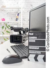 編集, ビデオ, コンピュータ, そして, 映画カメラ