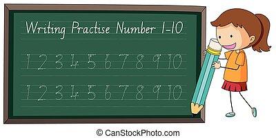 練習しなさい, 数, 10, 執筆