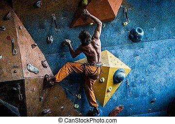 練習する, ロッククライミング, 筋肉, 壁, 屋内, 岩, 人