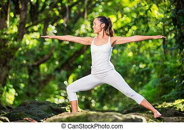 練習する, 女, ヨガ, 自然