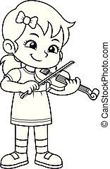 練習する, 彼女, bw, 音楽, バイオリン, 女の子