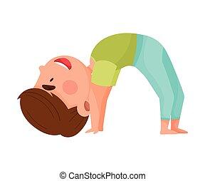 練習, ヨガ, わずかしか, 呼吸, 特徴, イラスト, 男の子, ベクトル, 伸張