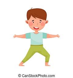 練習, ヨガ, 男の子, 伸張, イラスト, わずかしか, 特徴, ベクトル, 呼吸