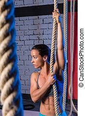 練習, ロープ, 上昇, 女, ジム