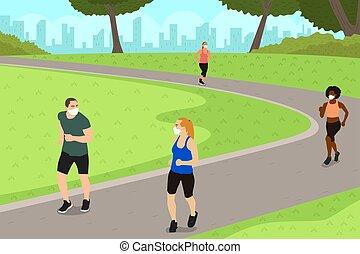 練習, 人々, distancing, 間, 練習する, イラスト, 公園, 社会
