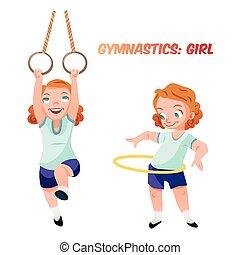 練習, 女の子, ベクトル, イラスト, 体操