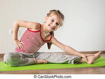 練習, 女の子, 体操