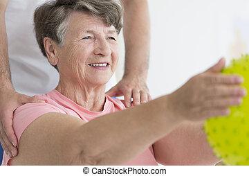 練習, 女, 楽しむ, 年配, 彼女