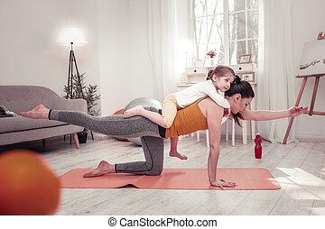 練習, 子供, 背中, 彼女, 母