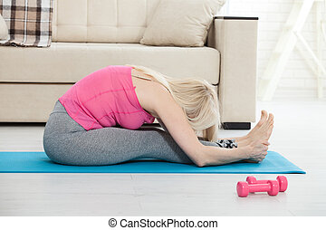 練習, 彼女, 50s, 女, 中年, 伸張