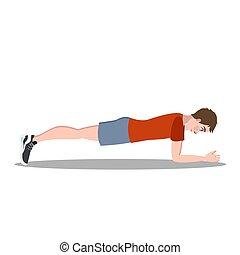 練習, 板, abs., フィットネス, 試し, 人