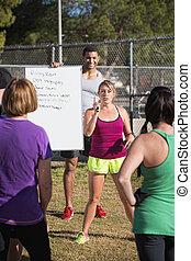 練習, 説明, トレーナー, フィットネス