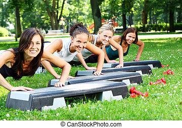 練習, 魅力的, フィットネス, 若い, womans