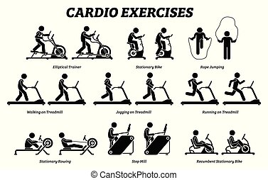 練習, gym., 訓練, cardio, フィットネス