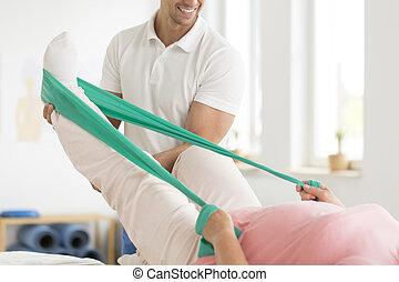 練習, physiatrist, 実行, 患者
