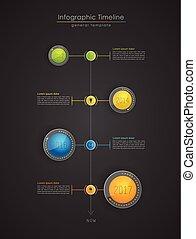 縦, カラフルである, infographic, タイムライン, -, 印刷である, 暗い, テンプレート, レポート, version.