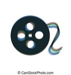 縦, カラフルである, isolated., 印。, バックグラウンド。, shaked, vector., アイコン, 白, 円, フィルム, 軸