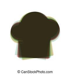 縦, カラフルである, isolated., 印。, 帽子, シェフ, バックグラウンド。, shaked, vector., 白, アイコン, 軸