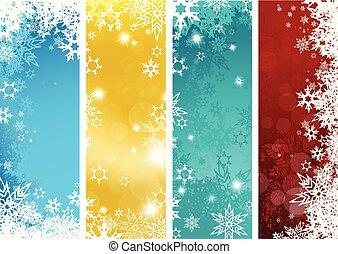 縦, セット, 雪片, カラフルである, -, 4, バージョン, 背景, 旗, クリスマス