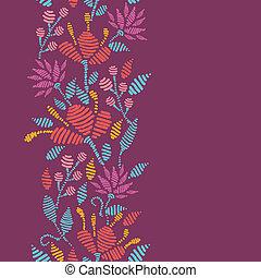 縦, パターン, emboridered, seamless, 花, ボーダー