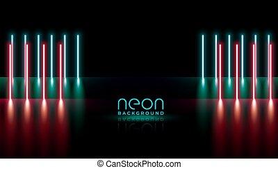縦, ライト, ネオン, 抽象的, 背景, デザイン, ライン