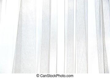 縦, ライト, 抽象的, folds., texture., 織物, バックグラウンド。, 窓, カーテン, 影, tulle, 柔らかい, 白, curtains.
