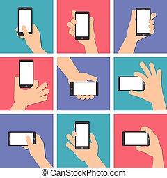 縦, 手掛かり, 手, 電話, position., 痛みなさい