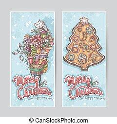 縦, 挨拶, 陽気, 旗, クリスマスカード