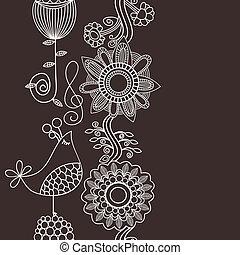 縦, 歌うこと, seamless, パターン, 装飾, 花, ボーダー, 鳥