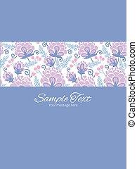 縦, 紫色, フレーム, ベクトル, ストライプ, テンプレート, 招待, 花, 柔らかい, カード