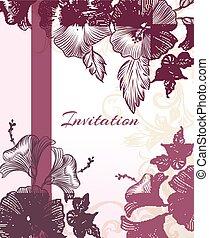 縦, 紫色, flowers.eps, 優雅である, 招待, カード