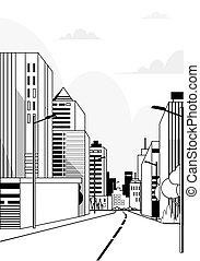縦, 都市, 建物, 超高層ビル, アスファルト, 現代, 高く, スカイライン, 道, 背景, 都市の景観, 線, ハイウェー
