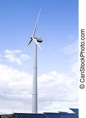縦, 風車, 青, sky., イメージ, 選択肢, 屋外で, エネルギー, concepts., に対して