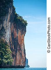 縦, -, krabi, 高く, 海, タイ, 光景, 急, 風景, 崖