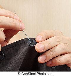 縫いなさい, 灰色, ボタン, ジャケット, 仕立屋, クローズアップ, 手