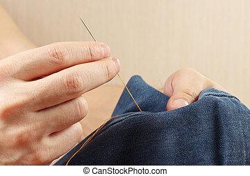 縫いなさい, 生地, デニム, 針, 仕立屋, クローズアップ, 手