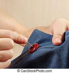縫いなさい, 生地, ボタン, クローズアップ, 手, clothier, デニム