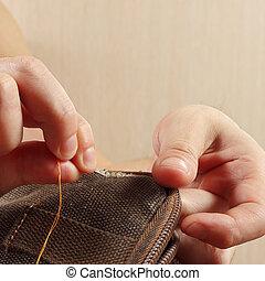 縫いなさい, 生地, 針, 仕立屋, クローズアップ, 手, 強い