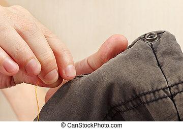 縫いなさい, 針, 仕立屋, クローズアップ, 手, 衣服, 綿