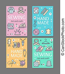 縫紉, 飛行物, 旗幟, 海報, 卡片, set., 矢量