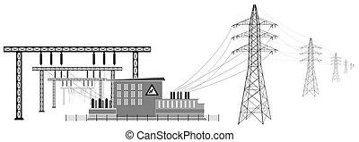 縮小, 伝達, lines., サブステーション, 電圧, 高く, 電気である, energy.