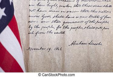 總統, 亞伯拉罕, lincoln's, 葛底斯堡, 地址