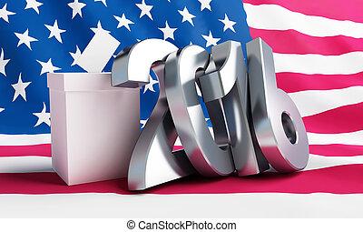 總統, 選舉, 美國, 在, 2016, 白色 背景